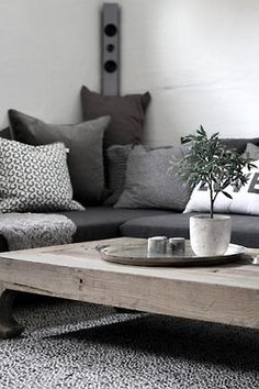grey decor home and wood table