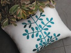 "Teal (or Turquoise) Leaves Lumbar Pillow Cover - 12"" x 16"" - White linen with turquoise Botanical"