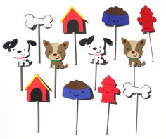 12 Puppy Party Themed Cupcake Toppers For A Birthday Party