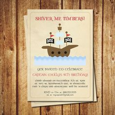 Pirate party invitation printable pirate birthday by Greencard