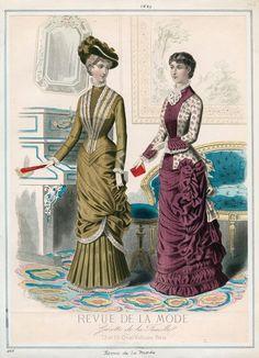 """Fashion Plate extraído de la revista """"Revue de la Mode"""" 1880"""
