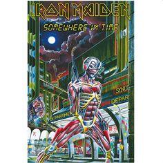 IRON MAIDEN Somewhere In Time Poster Flag  #ironmaiden #somewhereintime #rockabilia #merchandise #licensedmerchandise #merch #posterflags #metal #rock #bands