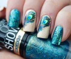 peacock nail art image