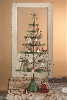 NEW Bethany Lowe Christmas Vintage style Soft Goose Feather Tree GREEN 36 inches