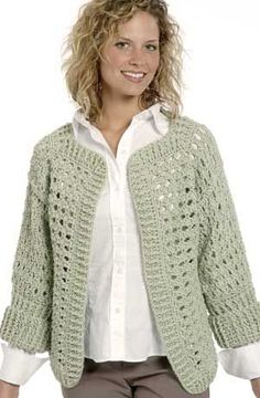 CROCHET JACKET PATTERN-Crochet four rectangles for the body and two rectangles for the sleeves, all in a shell-pattern stitch.
