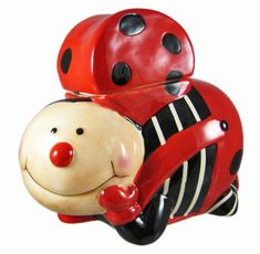 Ladybug Ceramic Cookie Jar