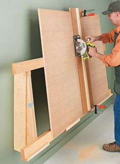 Cut sheet goods quickly and easily with this handy, space-saving rack.