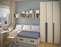 Get rid of your worries concerning a small bedroom. A small bedroom is not a curse. With the right interior design Small Bedroom Interior, Luxury Bedroom Furniture, Home Bedroom, Modern Bedroom, Small Bedrooms, Teen Bedrooms, Luxury Bedding, Bedroom Decor, Bedroom Storage