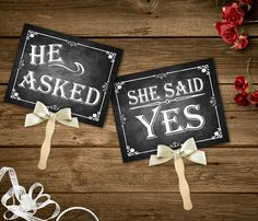 He Asked, She Said Yes Printable Chalkboard Wedding signs, Engagement Photo Props, Instant Download, Save the Date Prop, Engagement Prop