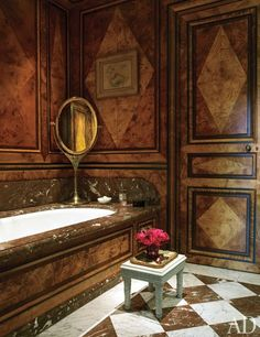 Renowned fashion editor Anne McNally's Paris bathroom, designed by Jacques Garcia, features a marble tub and mirror. Beautiful Bathrooms, Modern Bathroom, Small Bathroom, Masculine Bathroom, Tile Bathrooms, French Bathroom, Rental Bathroom, Bathroom Bath, Bathroom Vanities