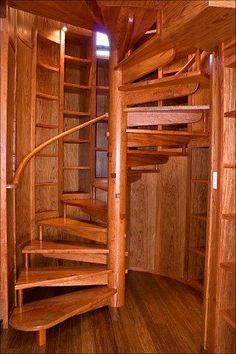 Spiral stair with bookcase