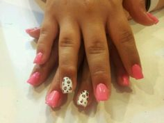 Pink with cheetah accent nail