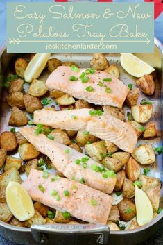 Easy Salmon & New Potatoes Tray Bake is a perfect family dinner without a fuss. Quick to put together it pretty much takes care of itself. Delicious salmon fillets and baby potatoes roasting in one tray as you prepare the sides. It couldn't be easier! Salmon Tray Bake, Best Fish Recipes, Summer Recipes, Seafood Recipes, Healthy Recipes, Roasted Baby Potatoes, Simple Green Salad, Cooking Green Beans, Midweek Meals