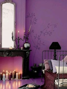 Purple bedroom - love the wall art!