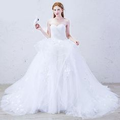 Beautiful White Organza Fairylike Wedding Bridal Ball Gown Dresses SKU-118016