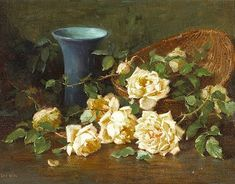 Edith White--A Basket of Yellow Roses and a Blue Vase