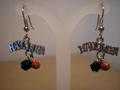 Halloween Earrings with black crystal an by CreationsbyMaryEllen, $7.99