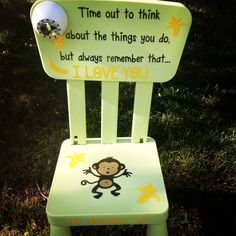 SALE Personalized Time Out Chair With Timer Monkey by GiftsForIt