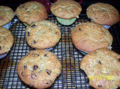 Banana Chocolate Chip Muffins - half recipe makes 12 muffins (use 2 mashed bananas not 1 1/2)