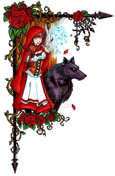 """Somewhere between Rose Red of """"Snow White and Rose Red"""" [Grimm's Fairytales] and Little Red Riding Hood [also Grimm's] Copic marker and a little digital editing ^_^ Little Red Hood, Little Red Ridding Hood, Red Flowers, Red Roses, Red Riding Hood Wolf, Charles Perrault, Big Bad Wolf, Wolf Howling, Cool Artwork"""