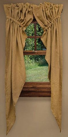 New Primitive Country Farmhouse Chic Prairie Style Burlap Window Curtain