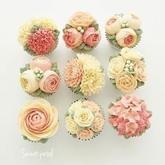 Too darling! A buttercream extravaganza with @sweetpetalcake ! #cupcakes