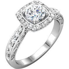 0.18 ctw Prong Setting 14K White Gold Round Brilliant Semi Mount Engagement Ring