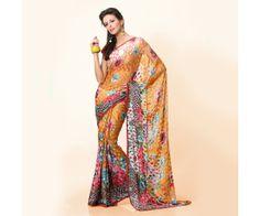 MultiColor Printed Designer Saree