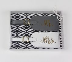 Mr and Mrs Luggage Tags | Bride and Groom Luggage Tags | Honeymoon Luggage Tags by ThePaisleyBox on Etsy https://www.etsy.com/listing/459329040/mr-and-mrs-luggage-tags-bride-and-groom