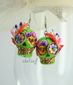 Skull polymer clay the day of the dead skulls green by ibelief, $24.90