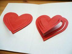 Tutorial para hacer tarjeta pop up de corazones. San Valentín.