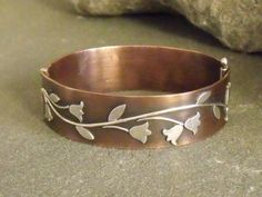 Copper and Sterling Hinged Bangle Bracelet by ElizabethsArtJewelry, $225.00