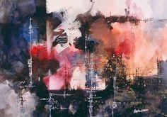 """9-11 Preamble, 20"""" x 28""""   John Maslen's artistic works occupy three distinct niches -- architect, watercolorist, and children's book illus..."""