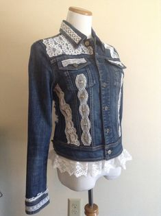 Upcycled Denim Jacket with Lace Embellishments, Jean Jacket, Upcycled Jean Jacket, Romantic clothing, Denim and Lace, by DragonflyDenim on Etsy https://www.etsy.com/listing/203498127/upcycled-denim-jacket-with-lace