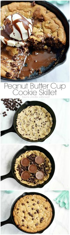 This Peanut butter cup skillet cookie is an easy dessert recipe that your whole family will love. Chocolate Chip cookie dough, peanut butter cups, and chocolate chips are melted together in a mini skillet for a cookie recipe that is a dessert made for two.