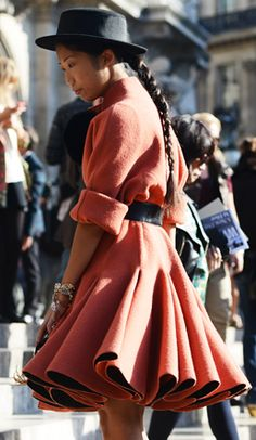 Street style fashion / karen cox. cute winter coral coat for great street style