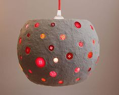Paper mache pendant light with red buttons -white recycled paper lampshade - paper pulp light - ceiling lamp - hanging light