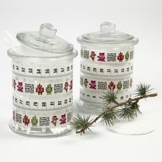 Masking Tape attached onto glass jars which may be used for storing of cotton pads and cotton buds.