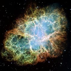 Crab Nebula  The Crab Nebula is a supernova remnant, all that remains of a tremendous stellar explosion. Observers in China and Japan recorded the supernova nearly 1,000 years ago, in 1054.   Credit: NASA, ESA, J. Hester and A. Loll (Arizona State University)