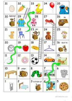 Snakes and Ladders - English ESL Worksheets Numbers Kindergarten, Kindergarten Activities, Toddler Activities, Preschool, English Games, English Activities, Snake Games For Kids, Snakes And Ladders Printable, Apple Classroom