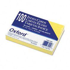 Oxford Unruled Index Cards, 4 X 6, 100/Pack (Set of 3)