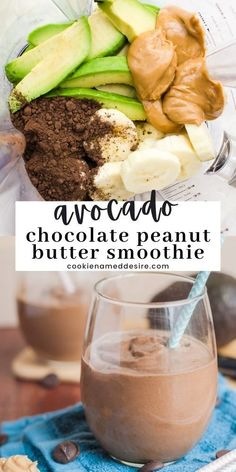 This avocado chocolate peanut butter smoothie will keep you feeling full and satisfied, and tastes just like a milkshake! Chocolate Chip Cookies Ingredients, Chocolate Peanut Butter Smoothie, Best Chocolate Desserts, Decadent Chocolate Cake, Peanut Butter Desserts, Healthy Food Choices, Healthy Recipes, Pumpkin Smoothie, Smoothie Bowl