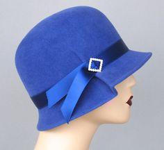 Royal Blue Women's Felt Hat  Cloche Hat Fur by Makowsky Millinery