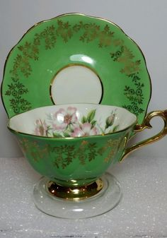 ROYAL ALBERT Bone China ENGLAND Tea Cup Saucer beautiful green floral w Gold #RoyalAlbert by natalie-w