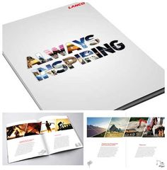 Yearbook cover idea. Photos in the shape of letters  55 Inspiring Printed Brochure Layout and Designs