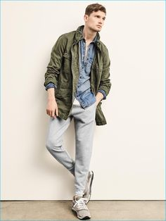 Gap embraces the military trend with its army green hooded fatigue jacket.