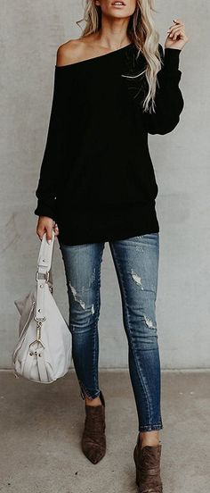 One Shoulder Sweater Comes In Black - Office Outfits Mode Outfits, Casual Outfits, Fashion Outfits, Fashion Trends, Black Outfits, Office Outfits, Fashion Ideas, Fall Winter Outfits, Autumn Winter Fashion