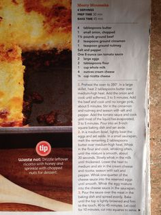 Meaty Moussaka from Rachael Ray Mag. no nasty eggplant. meat with tomato/cinnamon sauce and a baked cream cheese top. NEVER make a small batch. freezes so well!