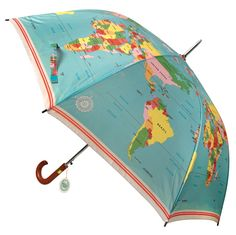 World Map Gentleman's Umbrella. This super umbrella with a world map design is a great gift idea - stylish and practical! Large Umbrella, Vintage Umbrella, Rain Umbrella, Under My Umbrella, Fancy Umbrella, Brollies, Map Globe, Umbrellas Parasols, Singing In The Rain