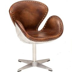 Devon Leather chair - love the metal on the back